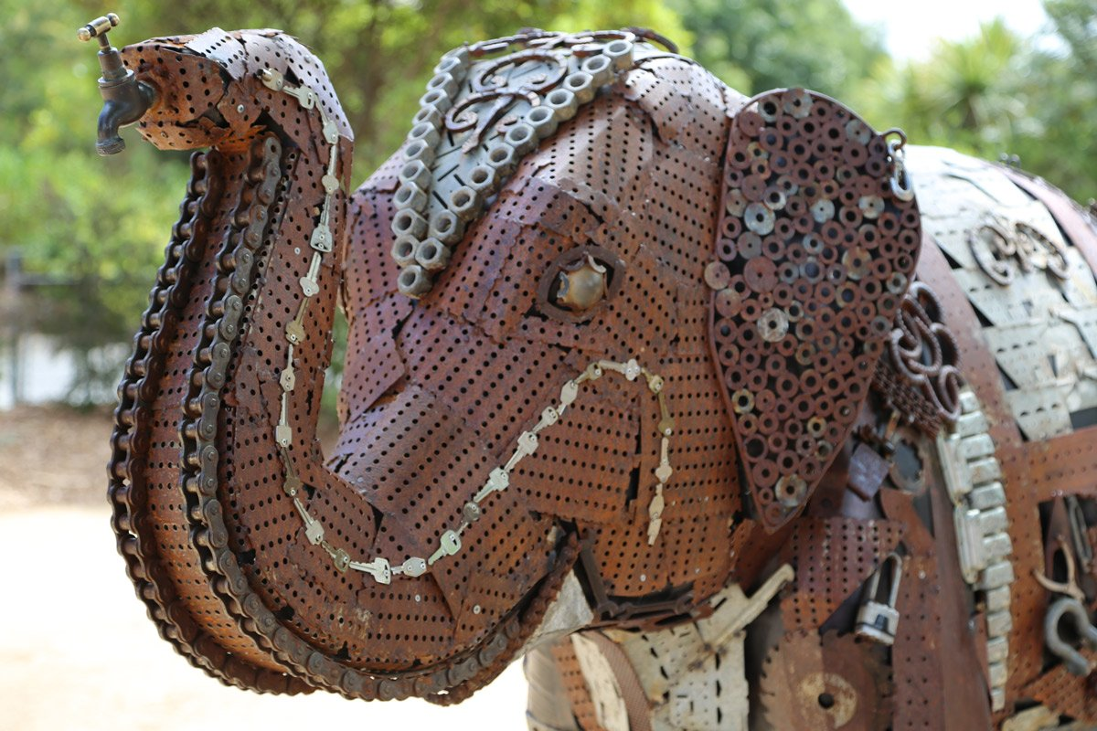 Metal Elephant-Sculpture_Melbourne-Zoo_Moonshine-Agency_Stock-Image-Library