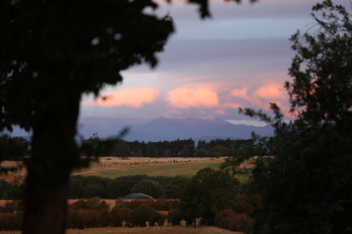 Mike Hill Moonshine Agency photography Longford Tasmania Sunset across a field
