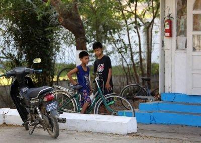 kids with bikes Yangon Myanmar